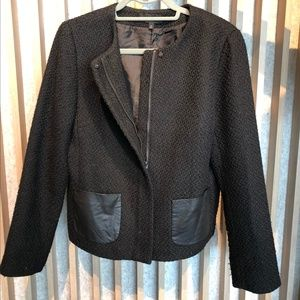 Talbots black jacket with faux leather pockets